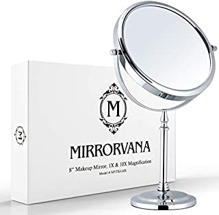 Mirrorvana Large Double Sided 10X and 1X Magnifying Makeup Mirror with Stand, 15-Inch Height and 8-Inch Wide