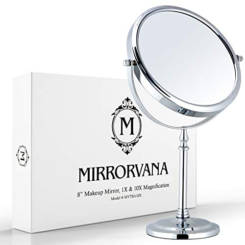 Mirrorvana Large Double Sided 10X and 1X Magnifying Makeup Mirror with Stand, 15-Inch Height and...