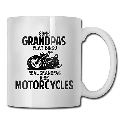 WYYCLD Some Grandpas Play Bingo Real Ride Motorcycles Coffee Mugs Porcelain Coffee Cups with Large C-Handle Funny Coffee Mug Cool Coffee Tea Cup 11 Ounces for Family and Friend