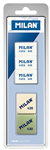 Milan BVM10048 - Pack de 5 gomas de borrar