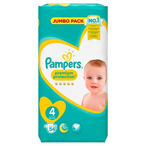 PAMPERS Pañales Premium Protection, talla 4Maxi (9–14kg), Jumbo Pack, 1er Pack (1x 54unidades)