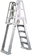 Vinyl Works SLA A-Frame 48-56 Inch Adjustable Above Ground Swimming Pool Ladder Entry System with Slide Lock Barrier and Handrails, White