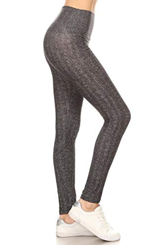 LY5R-S598 Office Date Printed Yoga Leggings, One Size