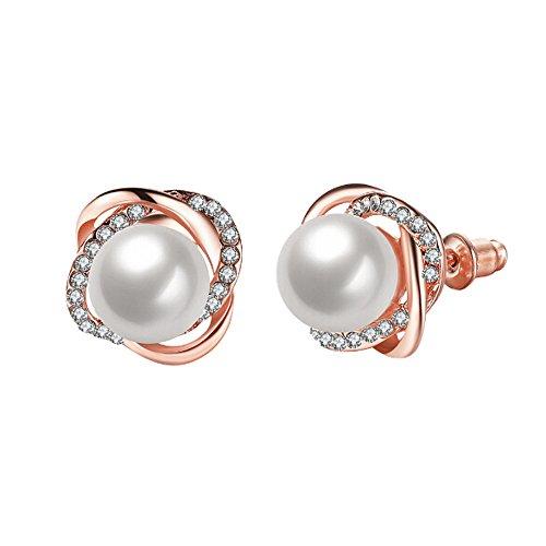 LABIUO Frauen Rose Perle Ohrstecker Kleiner Kristall Diamanten Ohrringe(EIN,Freie Größe)