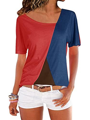 YOINS YOINS Sexy Schulterfrei Oberteil Damen Tshirt Sommer Oberteile Frauen Tunika Damen Tops Gestreift Pulli Lose Hemd Kurzarm-rot EU32-34 (Herstellergröße:S)