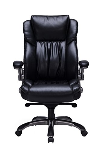 VIVA OFFICE Bonded Leather Executive Chair High Back with Flip-Up Arms