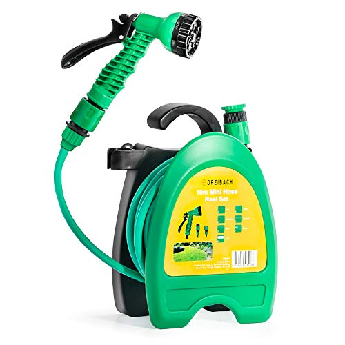 GloBrite Light Hose Reel for Garden with 10 meters/32 feets hose and Accessories for Irrigation, for Watering Pots, Balconies and Green Corners, colour Lime Green