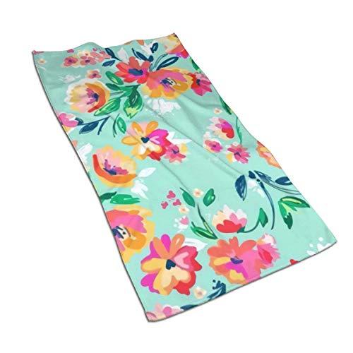 Bright Floral Blooms On Beach Glass Aqua Toallas de Mano de Fibra extrafina Toalla de Playa Ultra Suave Toalla de baño para Piscina par