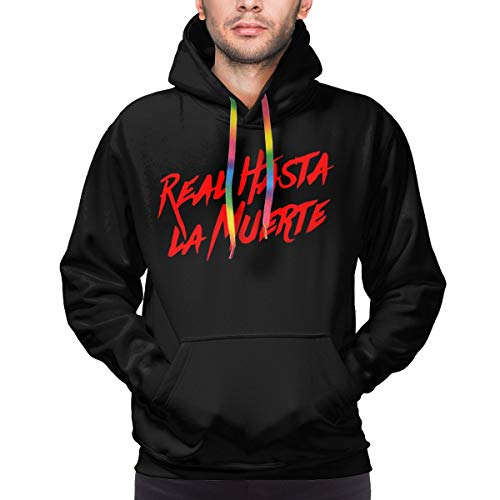 Puppylol Men's Hooded Sweatshirt Anuel Aa - Real Hasta La Muerte Pullover Pocket Hoodies Medium Black