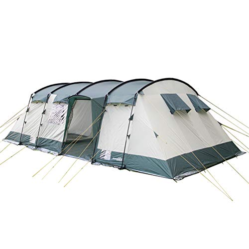 skandika Hurricane Large Family Tunnel Camping Tent with 2-4 Sleeping Cabins, 5000 mm WC, 12 Person