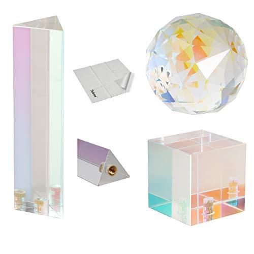 """Selens 3 Stück Prisma Fotografie Plating Membrane Kristall mit 1/4\"""" Gewindeloch, Professionelle Optik Kristall Glas Prisma, Erstellen Sie Einen Leichten Regenbogeneffekt für Fotografen Studio Foto"""
