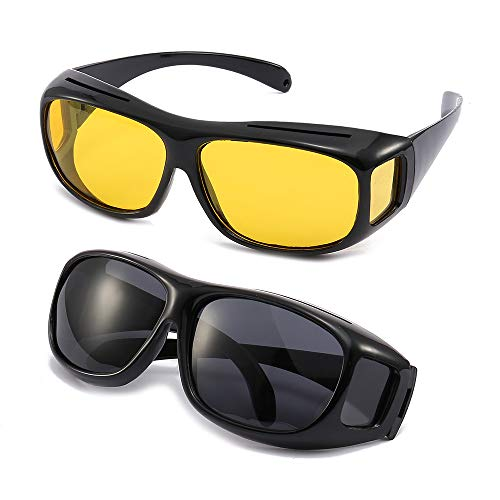 2Packs Unisex HD Day Night Driving UV400 Sunglasses Fit over Glasses Anti Glare