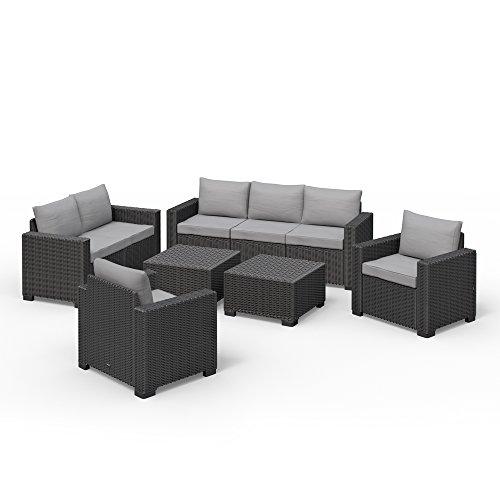 Allibert California Lounge Set Polyrattan Gartenmöbel Rattanoptik Sitzgruppe 6-teilig