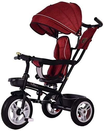 Pushchairs kindertrikes driewieler wandelwagen driewieler met drukknop handvat peuter fiets peuter met verstelbare stoel met luifel 4-in-1 ouder duwen driewieler voor kinderen baby producten