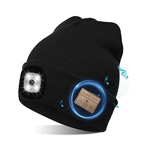 Gorro Bluetooth inalámbrico, Gorro Recargable, con luz LED, para Mantener el Calor en Invierno, Correa de Punto, Lavable, Negro