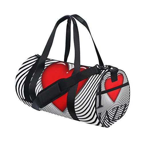 ZOMOY Sporttasche,Liebes Jazz Guss Herz Schwarz Weiß,Neue Druckzylinder Sporttasche Fitness Taschen Reisetasche Gepäck Leinwand Handtasche