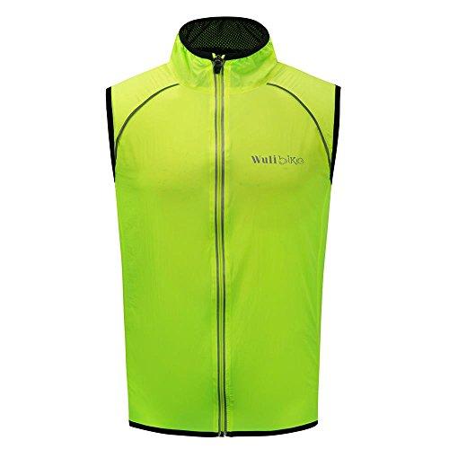 logas Gilet Ciclismo Uomo Antivento Giacca Bici Senza Maniche Ultraleggera e Riflettente Nero/Verde