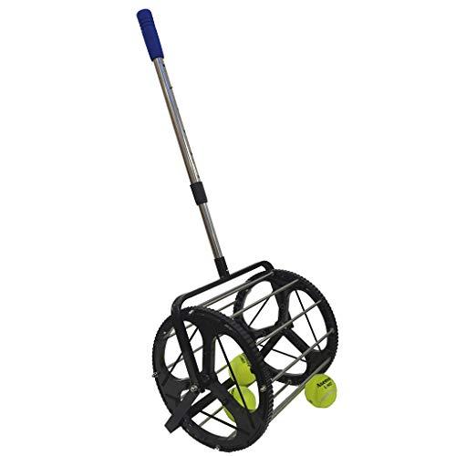 SamMoSon Tennis Ball Roller Mower & Hopper - 60 Ball Capacity Pickup Hopper, Adjustable Tripod Base, Automatic Pick-up