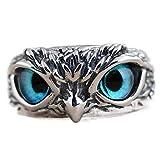 Yagerod 925 Sterling Silver Demon Owl Eye Ring For Girl Women Lover Retro Animal Ring 2pcs