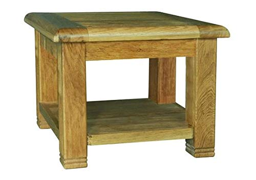 Sassy Home Weathered Oak Square Lamp Table, Wood, 50 x 60 x 60cm