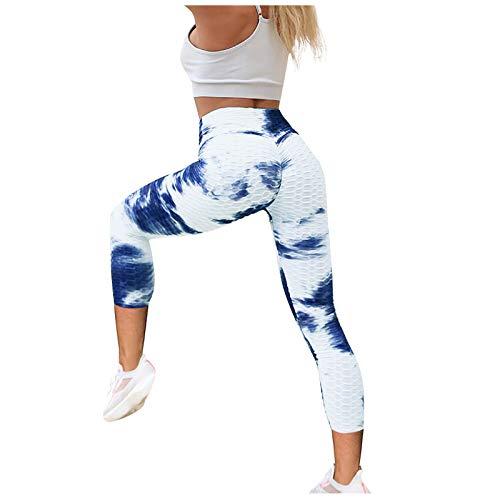 AFFGEQA Damen Yoga Sporthose Drucken Hosen Slim Fit Mehrere Farbmuster Blasenmuster Sportleggins für Fitness Sport Freizeit Heimhose Yogahose Trainingshose