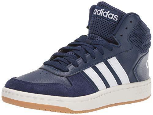 adidas Men's Hoops 2.0 Mid Sneaker, Dark Blue/White/Cloud White, 9.5 M US