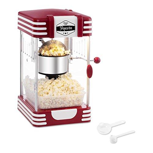 Palomitero retro • Mini Máquina de Palomitas (300 W / 100 s, Porción de Maíz 57 g, Revestimiento de Téflon, Cuchara Dosificadora Multi Función incl., 28,5 x 32,5 x 46 cm) Roja Diseño Retro