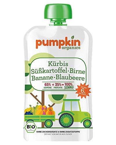Pumpkin Organics SONNIG   Bio Gemüse-Quetschie aus Kürbis, Süßkartoffel, Birne, Banane und Blaubeere (8 x 100g) I Babynahrung ab dem 6. Monat