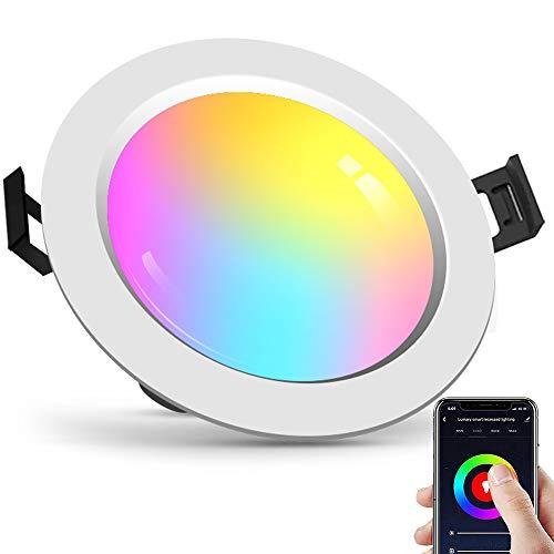 Downlight LED Empotrable Techo, 4 pulgadas 10W Dimmable Luz Blanca Fría+Cálida(2700~6500K) RGB...