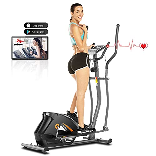 ANCHEER Bicicleta Elíptica de Fitness, Elíptica para Casa 10 Niveles de Resistencia/Medición de Pulso/Inercia Controlado Magnéticamente/Conexión con App, Carga máxima: 180 kg