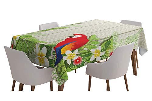 Yeuss Mantel para mesa de loro, flores trópicas y africanas en verano jardín de madera, helechos de pared, color crema y verde bermellón