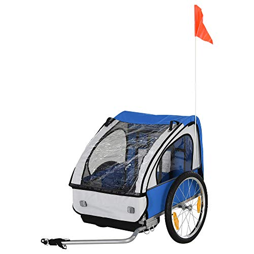 HOMCOM 2 Seat Bike Trailer Bicycle wagon for Kids Child Steel Frame Safety Harness Seat Carrier Blue White 126 x 78 x 79 cm