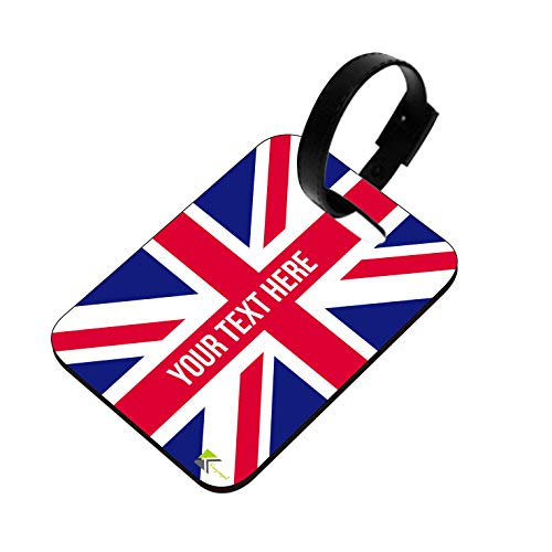 PLT222 Personalised Name UK Flag Union Jack Novelty Funny Unique Designer Gift Glossy MDF Wooden Suitcase Luggage Tag