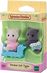 Persian Cat twins collectable figure Three piece set: crawling baby, sitting baby, and a ride-on toy Dressed in removable fabric clothing Sylvanian Families' miniature dollhouses, playsets and figures are timeless and classic high-quality toys Suitab...