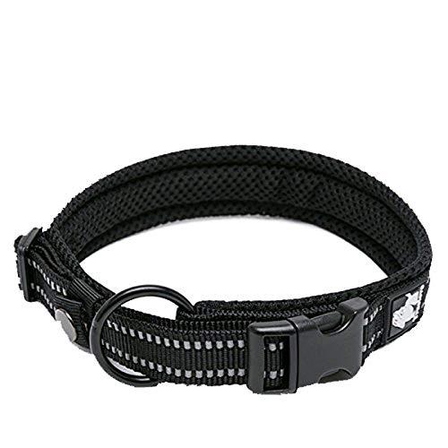 Dog Collar Reflective Premium Duraflex Buckle,High Grade Nylon Webbing No Choke Basic Collars Truelove TLC5011(Black,S)