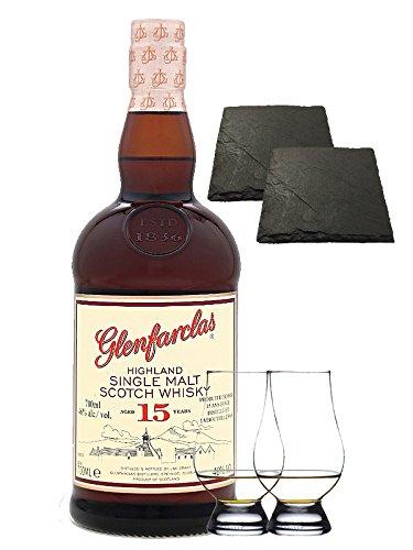 Glenfarclas 15 Jahre Single Malt Whisky 0,7 Liter + 2 Glencairn Gläser und 2 Schiefer Glasuntersetzer 9,5 cm