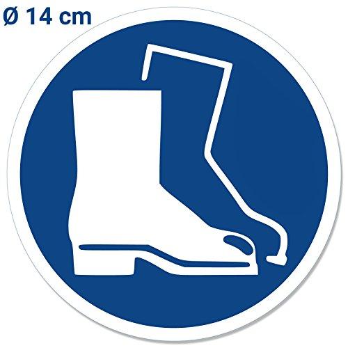 Aufkleber Gebotszeichen Fußschutz benutzen, 14cm Durchmesser Schild/Folie, Sicherheitsschuhe Tragen