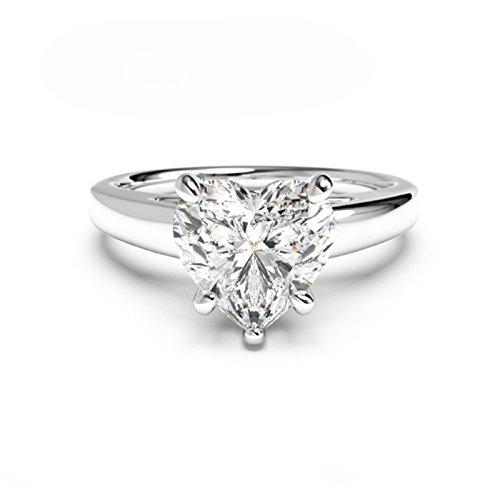 Anillo de compromiso con diamante de corazón de 2 quilates, plata de ley 925 con esmeralda, acabado en oro blanco, tamaño