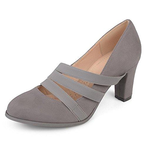 Journee Collection Comfort Sole Triple Elastic Strap Chunky Heels Grey, 12 Regular US