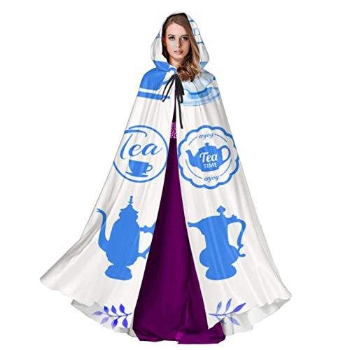 Yushg Teteras Tazas Y Flores Cape Cloak Dress Disfraz con Capucha 59inch para Navidad Disfraces de Halloween Cosplay