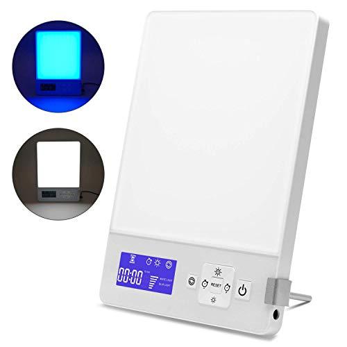 Aourow Tageslichtlampe LED 10000 Lux mit 5 Helligkeitsstufen Dimmbar,Simuliert Tageslicht/Lichtdusche/Sonnenlicht mit Einer Lichtintensität von 10,000 Lux,Gegen Depressionen,Kaltes Weiß und Blau