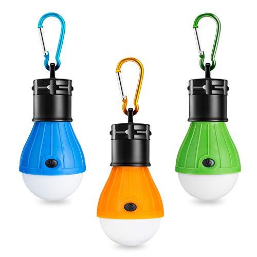Winzwon Campinglampe, LED Camping Laterne, Tragbare Zeltlampe Laterne Glühbirne Set-Notlicht COB 150 Lumen Wasserdicht Camping Licht für Camping Abenteuer Angeln Garage Stromausfall (Pack of 3)