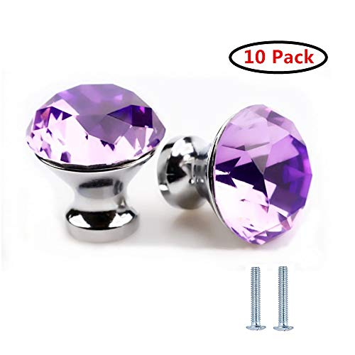 Drawer knop Pull handvat kristal glas diamant vorm kabinet lade trekt kasten knoppen met schroeven voor Thuis Kantoor Kast Cupboard Bonus zilveren schroeven DIY (10 stuks) Paars