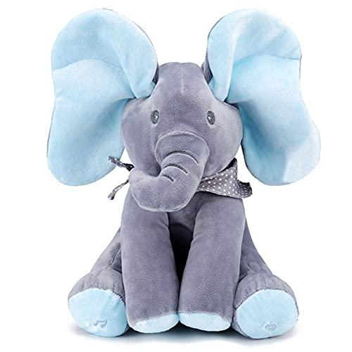 HHJ Peluche de Elefante con Movimiento y Sonido, Juguete Interactivo Peek-a-Boo Elefante, Juego de Ocultar y Buscar Muñeca de Peluche Animada de Felpa Muñecas para Bebé/Niños-Azul