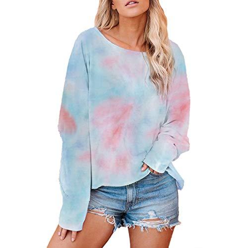Women T-Shirt Women Shirt Elegant Round Neck Long Sleeve Loose Comfortable Breathable Women T-Shirt Autumn New All-Match Trend Soft Fabric Boutique Women T-Shirt B-Blue XXL