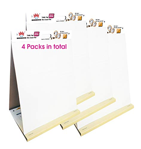 4 Packs 4A Super Sticky Table Top Dry Erase Pad+Easel Pad 2 in 1, Meeting Pad,Portable White Premium Self Stick Paper,Built-in Easel Stand,20X23 Inches,25 Sheets/Pad,4A Meeting-52x4