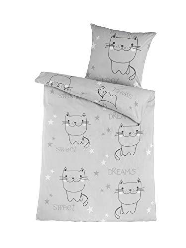 Dreamhome 100% Baumwolle Katze CAT Renforce Bettwäsche 135x200 Kissenbezug 80x80 mit RV