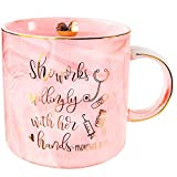 VILIGHT Nurse Appreciation and Graduation Gifts for Women - She Works Willingly with Her Hands - Nurse Practitioner Gifts Mug - Pink Marble Coffee Cup 11 Oz