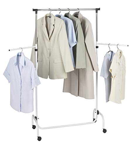 WENKO Kleiderständer Trio mit 2 Armen, Garderobenständer zur Kleideraufbewahrung mit Rollen und verstellbarer Kleiderstange, Kunststoff/Metall, 91 x 122-192 x 45 cm, Chrom/Weiß