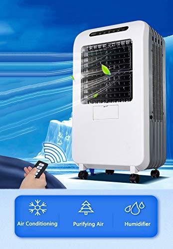 CAMPERS Portatili Raffrescatore Evaporativo, Ventilatore, Umidificatore d'Aria, Air Cooler, 3 velocità, Ruote, Timer e Telecomandoper Casa Ufficio Ambienti di 20 mq